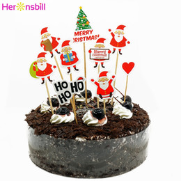 Discount cupcake trees - 2019 Merry Christmas Paper Cake Cupcake Topper Decorations For Home 2020 Happy New Year Ornaments Santa Claus Tree Xmas