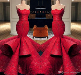 celebrities red carpet skirt Canada - Gorgeous Luxury Saudi Arabic Dubai Red Mermaid Evening Dresses Tiered Ruffle Skirts Long Red Carpet Dress Celebrity Formal Gowns Prom Dress