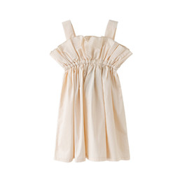 simple girls dresses UK - Simple Ruffle Dresses Age For 4 - 14 Yrs Teenage Girls Vest Dress Summer Backless Sleeveless Princess Costume 2019 Beach Clothe J190712
