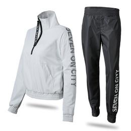 $enCountryForm.capitalKeyWord UK - Korea Running Fitness Clothing Sport Jacket Pants Sets with Reflective Letter Waterproof Sportswear For Women Windproof #796566