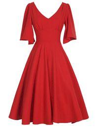 Rockabilly Pin Up UK - Wipalo Plus Size V -cut Flare Casing Vintage Dress Women's Summer Solid Pin Up Rockabilly Elegant A -line Party Dresses Vestidos