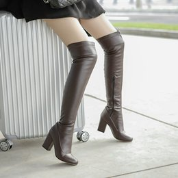 sexy thigh high rubber boots NZ - Alionashoo Plus Size 46 Stretch Pu Women Thigh High Boots Stilettos Sexy Over the Knee Boots Round Toe High Heel Long