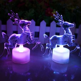 Acrylic Christmas Bulbs Australia - Christmas Reindeer LED LAMP Colorful Acrylic Double Flash Colorful Night Light LED Light Speed free shipping