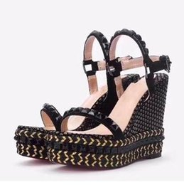 $enCountryForm.capitalKeyWord Australia - Women Pyraclou Wedges Sandals Shoes,Comfortable striated pyramid studs,Women Slippers,Ladies Leather shoes,Size 35-42,Free Shipping