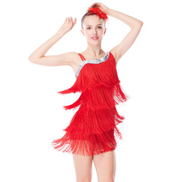 leotard sequins NZ - MiDee Dance Costume 4-Rows Fringes Latin Dresses For Girls High-low Neck Sequins Basement Leotard with Tassels