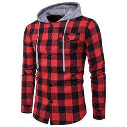 dresses big pockets UK - ZOGAA mens shirts mens dress shirts big plaid series men pocket decoration Korean casual hooded plaid shirt plus size S-3XL