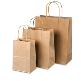 brown paper gifts UK - Recycled Kraft Paper Bag Paper Tote Gift Bag Portable Brown Matte Bags for Gifts Weddings and Shopping