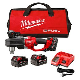 Battery power drills online shopping - Milwaukee M18 FUEL V Hole Hawg quot Right Angle Drill w Batteries