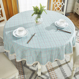 CroCheted Cotton table Cloth online shopping - Round Table Cloth Cotton Linen Table Cover Plaid Grid Pattern Christmas Tablecloth Lace Edge Wedding Party Decor Tablecloths T8190620
