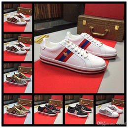 $enCountryForm.capitalKeyWord Australia - Best Designer Mens Womens Luxury Designer shoes ace blue red blue striped Genuine Leather Sneaker casual shoes white black size 38-44