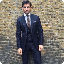 $enCountryForm.capitalKeyWord Australia - Dark Blue Business Tuxedo Men Suits Groom Wear Office Man Blazer Jacket Peaked Lapel 3Piece Coat Pants Vest Terno Masculino Costume Homme