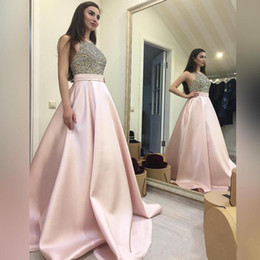 little bridal gowns Australia - Elegant Prom Dresses 2020 Formal Evening Dresses Women's Beading Crew Pink Satin Skirt Bridal Gown Special Occasion Bridesmaid Party Dress
