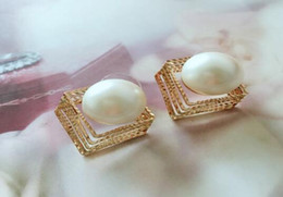 Number Blocks Australia - free shipping Earrings Korean version of fashion with retro exaggerated earrings wholesale pearl block earrings classic exquisite elegance