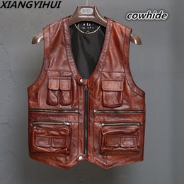 $enCountryForm.capitalKeyWord Australia - New Men's Waistcoat Genuine Leather Reporters Suit More Than Pocket Quinquagenarian Men Cow Leather Vest Tops Sleeveless Jacket