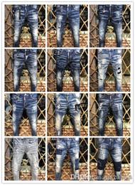 Slp biker denim online shopping - dS2 Represent clothing designer pants slp blue black destroyed mens slim denim straight biker skinny jeans men ripped jeans