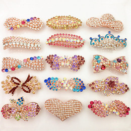 Wholesale middle eastern style dresses resale online - Mixed Styles woman s Rhinestone Diamond Inlaid Hairclip Hairpin Spring Clip Bowknot Hairpin Hair Dressing Decor