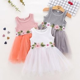 embroidered tutu Canada - Baby Girls Tutu New Summer Dresses Childrens Sleeveless for Kids Clothing Flower Floral Vest Dress