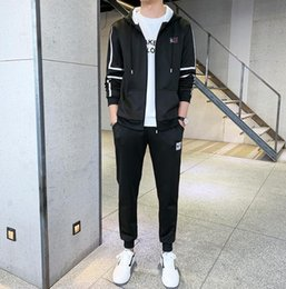 cardigan sets sale NZ - 2019 spring and autumn new men's Outerwear leisure sports suit Hoodie cardigan trousers two piece set large men's wear factory direct sales