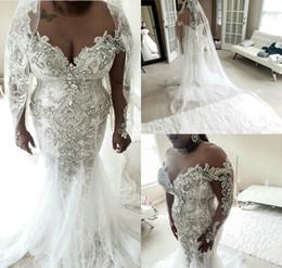 $enCountryForm.capitalKeyWord Australia - 2020 African Plus Size Wedding Dresses Beads Crystal Long Sleeves Trumpet Bridal Gowns Custom Made Country Vintage Mermaid Wedding Dress