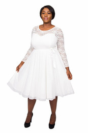 $enCountryForm.capitalKeyWord Australia - Sash Modern Long Sleeve White Chiffon 2019 Tea Length Scoop Boho Plus Size Bridal Dresses Lace A Line Wedding Formal Short Gowns Party