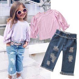 jeans top girl outfit NZ - 2019 Europe Girls Set Kids Flare Sleeve Tops Tshirt +Broken Hole Jeans Girl 2pcs Outfits Children Clothing Suit 5049