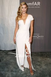 Light York NZ - kourtney kardashian Sexy White One Shoulder Prom Dresses Thigh High Split Front Celebrity Evening Gowns Amfar Gala New York Red Carpet Dress