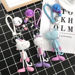 Keys Bell Australia - Korean creative cute long leg rabbit doll bell car key chain hook machine girl heart pig schoolbag hang decoration gift