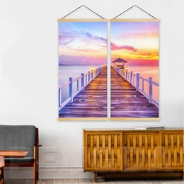 $enCountryForm.capitalKeyWord NZ - Home Decoration Wall Artwork 2 Piece Seaside Sunset Scenery Painting Solid Wood Hanging Scrolls Canvas Print Picture Art Poster