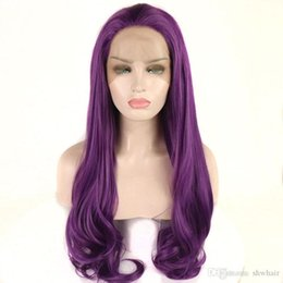 $enCountryForm.capitalKeyWord Australia - Synthetic Lace Front Wig Heat Resistant Purple Color Glueless Natural Wave Wig Synthetic Wigs Fiber Hair Natural Hairline For White Women