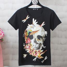 $enCountryForm.capitalKeyWord Australia - Woman Gothic Vintage Cotton T-shirt Straight Short Sleeve Skull Print Fashion Girls Travel Goth Retro T-shirts Casual Female Top