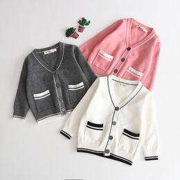 $enCountryForm.capitalKeyWord Australia - 1793 2019 New Baby Boys Girls Sandwich Sweater Baby Cotton V-collar Double-pocket Top Knitted Sweater Cardigans