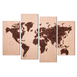 $enCountryForm.capitalKeyWord UK - Time-limited Hot Sale Unframed Free Shipping Art Deco Wall Pictures 4 Panels Canvas Coffee Beans World Map Home Decor Modern