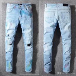 $enCountryForm.capitalKeyWord Australia - Unique Mens Painted Light Blue Skinny Jeans Stretch Designer Ripped Slim Fit Motorcycle Biker Scratched Beggar Hip Hop Denim Pants 584