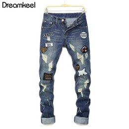 $enCountryForm.capitalKeyWord NZ - 2019 new man jeans pants knees holes Patches letter printing jeans men's high quality hip hop classic fashion Plus streetwear Y