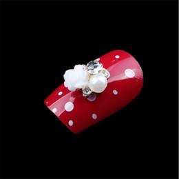 $enCountryForm.capitalKeyWord Australia - 10pcs pack 3D Alloy Rose Flower Rhinestone Pearl Nail Art Slices Alloy DIY Nail Decorations Manicure Accessories Fashion