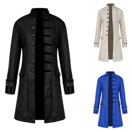 Vintage flying jackets online shopping - Laamei Men Long Sleeve blazers Jacket Stand Collar vintage Jacquard Punk dress Coat for party thin Casual Male Solid