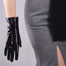 long black leather gloves NZ - 28cm Patent Leather Gloves Medium And Long Section Emulation Leather Mirror Bright Leather Bright Black Wild Basic Warm WPU94
