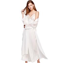 $enCountryForm.capitalKeyWord UK - Sexy Sling Dress Sleeping Robe Two-Piece Faux Silk Sleepwear Women Elegant Lady Lace Long-Sleeve Nightgowns Bathrobes T0008