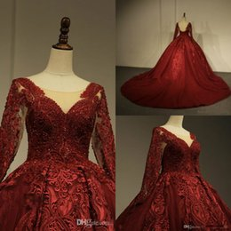 Red Ball Gown Long Prom Dresses Australia - Luxury Dark Red Prom Dresses 2019 Lace Appliqued Long Sleeve Evening Gowns Ball Gown Party Dress Formal Wear