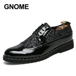 Leather Shoes Brogues Australia - Gnome Men Dress Shoes Bling Brogue Leather Shoes Men Luxury Male Business Formal Shoes Size 38-43 Zapatos Hombre