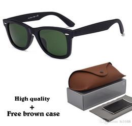 Blue colour sunglasses online shopping - 8 Colour High Quanlity Metal hinge Sunglasses men women Brand designer sun glasses Plank frame glass lens uv400 Goggle with cases and box