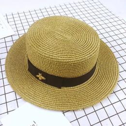 Berretto a tesa larga in tessuto dorato Bee in metallo dorato Berretto largo in paglia di moda Visiera a testa piatta genitore-figlio Cappello di paglia intrecciato in Offerta
