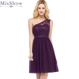 purple stock special occasion dresses UK - In Stock fast ship! One Shoulder Cocktail Dresses Purple Chiffon Short Dresses Elegant A Line 2019 Special Occasion Party Dress