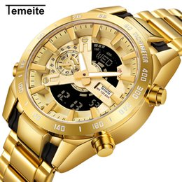 Dual Luxury Watches Australia - TEMEITE Dual Time Quartz Mens Watches Top Brand Luxury Golden Digital Clock 2 Time Zone Date Week Display Full Steel Wrist Watch