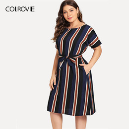 149ad885412 COLROVIE Plus Size Navy Belted Striped Elegant Dress Women 2019 Spring  Fashion Short Sleeve Casual Midi Dress Ladies Dresses
