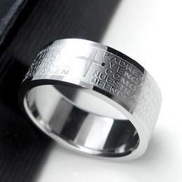 $enCountryForm.capitalKeyWord Australia - Hot Selling Silver Rings For Men Women Stainless Steel Bible Lord's Prayer Cross Rings Punk Fashion Men Gift Jewelry