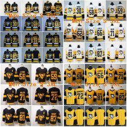 Pittsburgh Penguins Jersey 87 Sidney Crosby Evgeni Malkin Kessel Kisel Kris Letang Mario Lemieux Matt Murray Jake Guentzel Hornqvist Hóquei venda por atacado