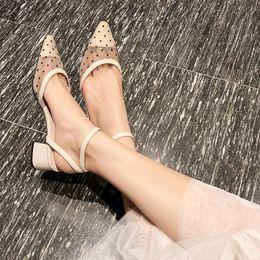 $enCountryForm.capitalKeyWord UK - Baotou Sandals Ladies Point Summer 2019 New Korean Version Baitao Spiked Fairy Wind Oneword Buckle Highheeled Shoes