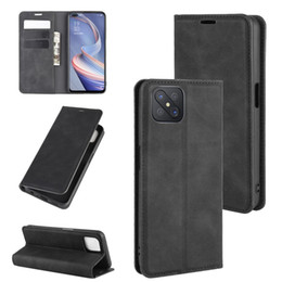 business card holder magnetic Australia - For Oppo A92s Retro-skin Business Magnetic Suction Leather Case with Holder & Card Slots & Wallet