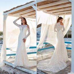 Slim full lace wedding dreSS online shopping - Long Sleeves Slim Full Lace Mermaid Wedding Dresses Garden Retro Bridal Gowns Customized Robe De Mariee Cheap